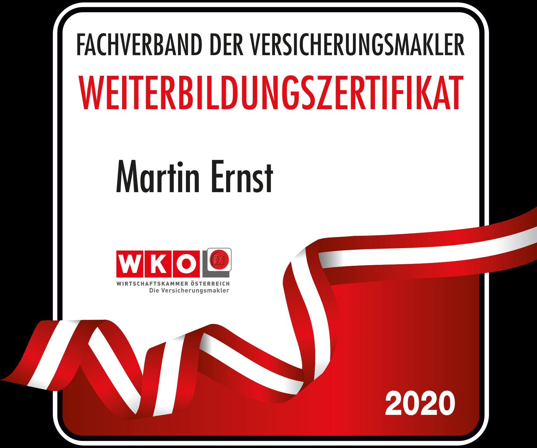 Weiterbildungszertifikat 2020 Martin Ernst